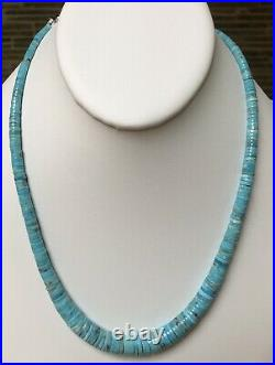 Santo Domingo Graduated Turquoise Heishi Sterling 4-12mm Necklace 19.75