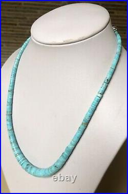 Santo Domingo Graduated Turquoise Heishi Sterling 4-12mm Necklace 20