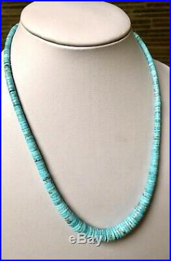 Santo Domingo Graduated Turquoise Heishi Sterling Necklace 19.25