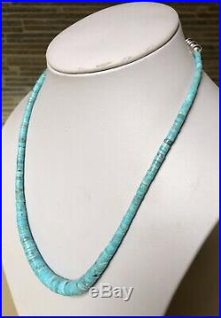 Santo Domingo Graduated Turquoise Heishi Sterling Necklace 19.5