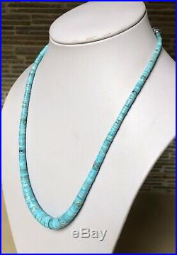 Santo Domingo Graduated Turquoise Heishi Sterling Necklace 21