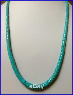 Santo Domingo Graduated Turquoise Heishi Sterling Necklace 22