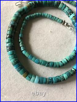 Santo Domingo Graduated Turquoise Heishi Sterling Necklace 22 Long