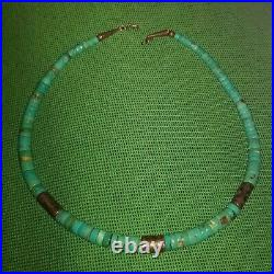 Santo Domingo Graduated Turquoise Silver Disk Heishi Bead Necklace 19 inches