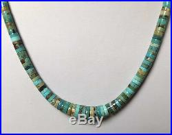 Santo Domingo Graduated Turquoise Sterling 4-10mm Heishi Bench Bead Necklace 20