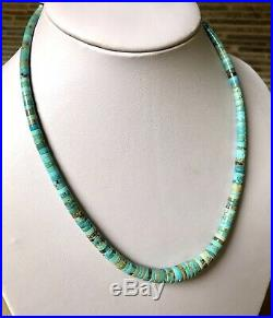 Santo Domingo Graduated Turquoise Sterling 4-10mm Heishi Necklace 18.5