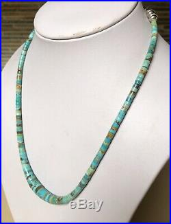 Santo Domingo Graduated Turquoise Sterling 4-10mm Heishi Necklace 19