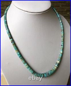 Santo Domingo Graduated Turquoise Sterling 4-10mm Heishi Necklace 19.5