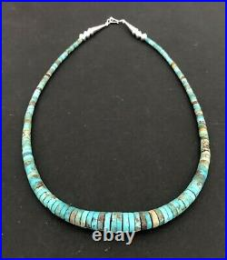 Santo Domingo Graduated Turquoise Sterling 4-10mm Heishi Necklace 20