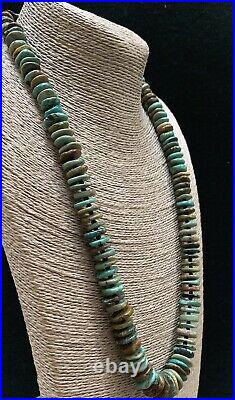 Santo Domingo Green Brown Turquoise Heishi Disk Bead Necklace 25 1/2 Inches