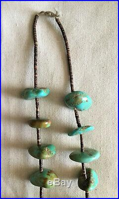 Santo Domingo Heishi And Stabilized Turquoise Nugget Necklace