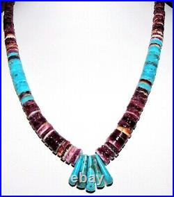 Santo Domingo Heishi Necklace Lupe Lovato Turquoise Purple Spiny Oyster