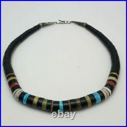Santo Domingo Heishi Turquoise Coral Black 16 Graduated Necklace Signed RM R