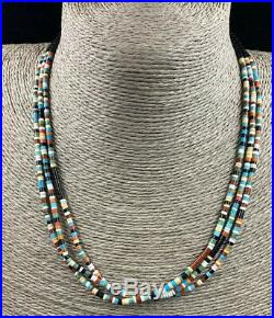 Santo Domingo Jet Turquoise Coral Pipestone Shell Heishi Bead Necklace