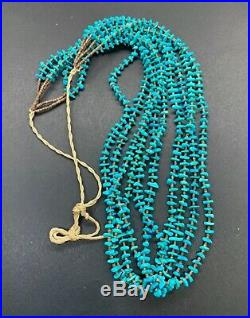 Santo Domingo Multi 5 Strand Blue Turquoise Heishi Beaded Waterfall Necklace