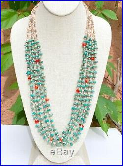 Santo Domingo Multi Strand Turquoise And Coral Heishi Beaded Waterfall Necklace