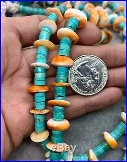 Santo Domingo Multi Strand Turquoise Spiny Oyster Heishi Bead Waterfall Necklace