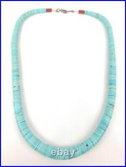 Santo Domingo Necklace Graduated Turquoise Heishi Disc Coral Vintage very nice