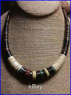 Santo Domingo Necklace Turquoise Heishi Sterling Silver Bench Beads Men Women