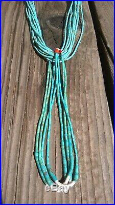 Santo Domingo Pueblo Natural Royston Turquoise Heishi Necklace From The 1990's