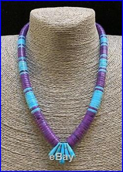 Santo Domingo Purple Mojave & Blue Turquoise Heishi Bead Necklace Lupe Lovato