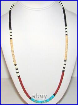 Santo Domingo Rolled Shell Heishi Necklace Turquoise Coral Jet Accents