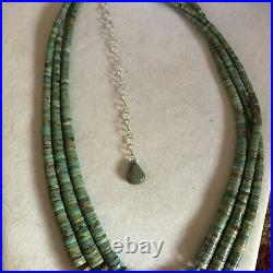 Santo Domingo Royston Turquoise Heishi Necklace 3 Strand 25 Long Sterling