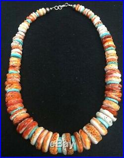 Santo Domingo Spiny Oyster Shell Disk Turquoise Heishi Bead Necklace