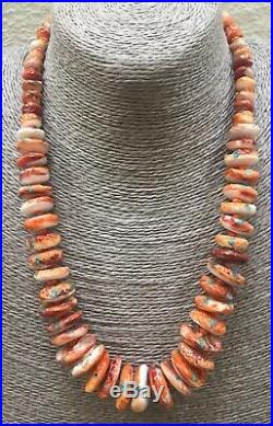 Santo Domingo Spiny Oyster Shell Turquoise Inlay Heishi Disk Bead Necklace