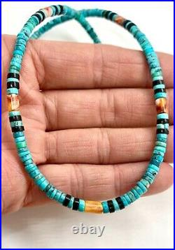 Santo Domingo Sterling Natural Turquoise Spiny Oyster Heishi Beaded Necklace 18