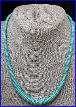 Santo Domingo Sterling Silver Blue Green Turquoise Heishi Bead Necklace 20