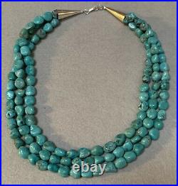 Santo Domingo Sterling Silver Turquoise Pebble Bead Necklace 17 1/2 Inches