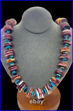 Santo Domingo Sterling Turquoise Purple Spiny Oyster Heishi Beaded Necklace