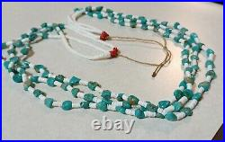 Santo Domingo Strung Turquoise Heishi Shell Necklace 3 Strand 30 Inches Long