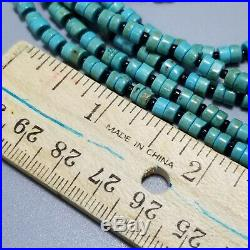 Santo Domingo Style Heishi Bead 12 Strand Necklace, Sterling Silver, Turquoise