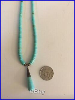 Santo Domingo Turquoise Heishi Necklace Turquoise / Sterling Teardrop
