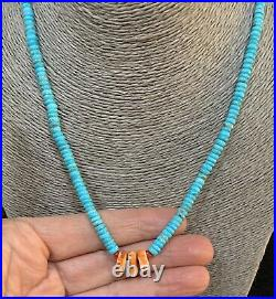 Santo Domingo Turquoise Heishi Spiny Oyster Bead Necklace 18 1/2 Inches
