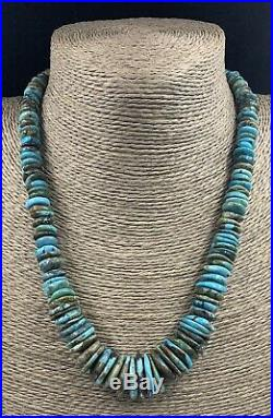 Santo Domingo Turquoise Heishi Wide Disk Bead Necklace 18 3/4 inches