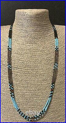 Santo Domingo Turquoise Jet Shell Heishi Bead Necklace 26 1/2 Inches Tenorio
