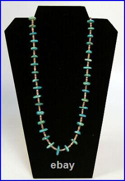 Santo Domingo Turquoise Nugget Necklace with Fine Heishi 34