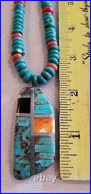 Santo Domingo Turquoise Spiny Oyster Heishi Necklace with Inlay Pendant Sterling