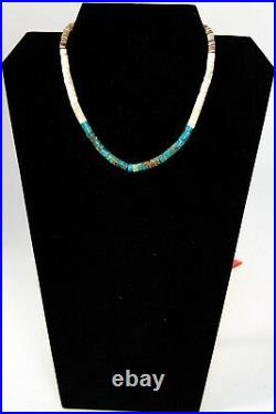 Santo Domingo Turquoise and Shell Heishi Necklace 14