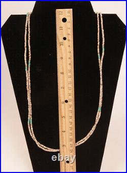 Santo Domingo Two-Strand Heishi and Turquoise Necklace c. 1950 32 long