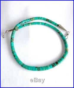 Signed IG Vintage Santo Domingo Graduated Rolled Turquoise Heishi Bead Necklace