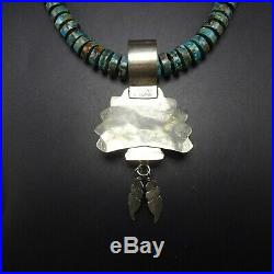 Signed NAVAJO Sterling Silver KACHINA PENDANT with 19 TURQUOISE Heishi NECKLACE