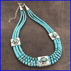 Signed SM Turquoise Heishi Bead Sterling Silver Necklace NWOT