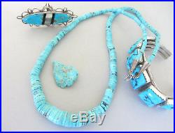 Signed Vintage Navajo Bright Baby Blue Turquoise Heishi Sterling 27 Necklace