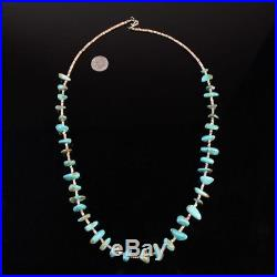 Simple vintage Navajo turquoise bead shell heishi necklace Native American pawn
