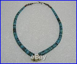 Southwest Old Pawn Coral Quartz Tapered Turquoise Heishi Necklace 14 1/4'' N342d