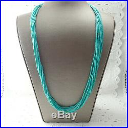 Southwestern 10 Strand 29 Turquoise Heishi Bead Sterling Silver Cap Necklace